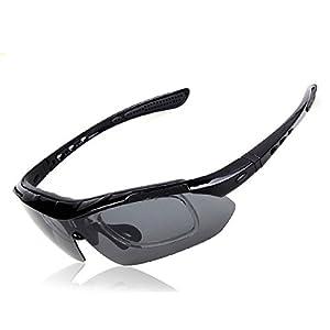 Stylish Anti Glare Frame Bicycle Cycling Bike Riding Goggles Outdoor Sports Sun Glasses Polarized Sunglasses Eyewear Anti-UV Protection Eyeglasses Safety Goggles Eyewear w/ 5 Lenses Black