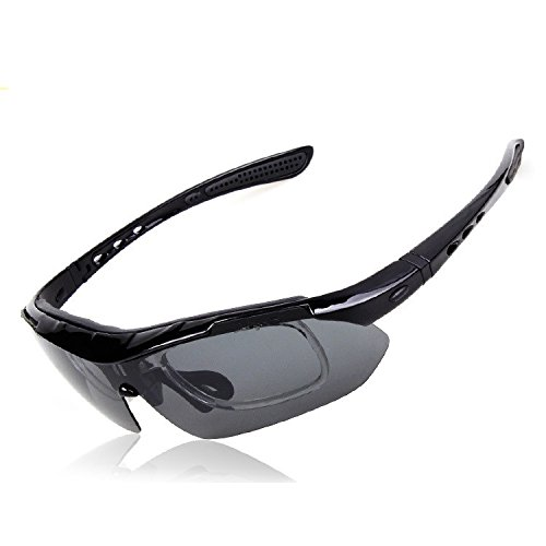 Stylish Anti Glare Frame Bicycle Cycling Bike Riding Goggles Outdoor Sports Sun Glasses Polarized Sunglasses Eyewear Anti-UV Protection Eyeglasses Safety Goggles Eyewear w/ 5 Lenses - Closeout Sunglasses
