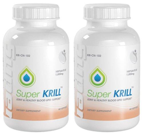 Super KRILL conjointes et des appuis cholestérol Super Strength huile de krill 1000mg 120 Capsules 2 bouteilles