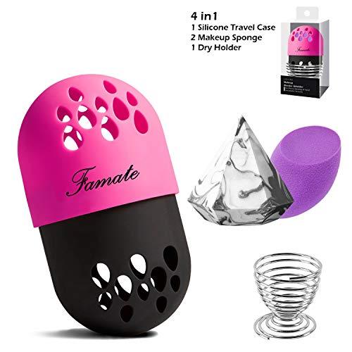FAMATE 4 in 1 Makeup Sponge Set Blender Beauty Sponge Travel Case Beauty Makeup Blender Holder Protective Carrying Case with 2pcs Makeup Foundation Sponge(RB(Purple+Diamond)) ()