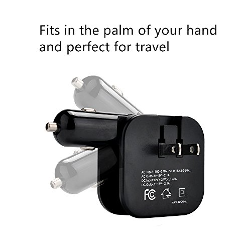 Travel Adapter Charger 2-in-1 Dual Port USB Car Charger ,Home Wall AC Chargers With Foldable Plug,Portable Palm Size, Black (Ac Plugs And Usb Ports compare prices)