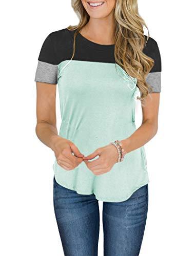 (Minthunter Women's Long Sleeve Short Sleeve Crew Neck Cute Tunic Color Block Tops Blue)