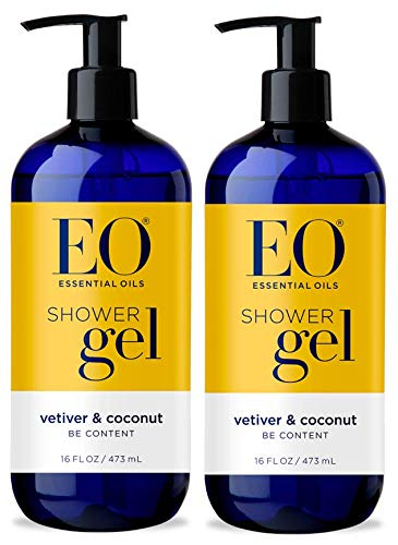 EO Vetiver and Coconut Shower Gel with Peppermint, Aloe and Orange Peel Oil (Pack of 2), 16 Oz ()