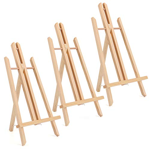 """Tosnail 3 Pack 16"""" Natural Wooden Easel Stand Tabletop Easel Painting Easel - $14.99"""