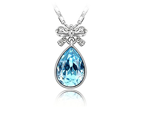 Gorgeous Jewelry Swarovski Austrian Crystal Necklace the Butterfly Flavor Blue Water Drop Pendant