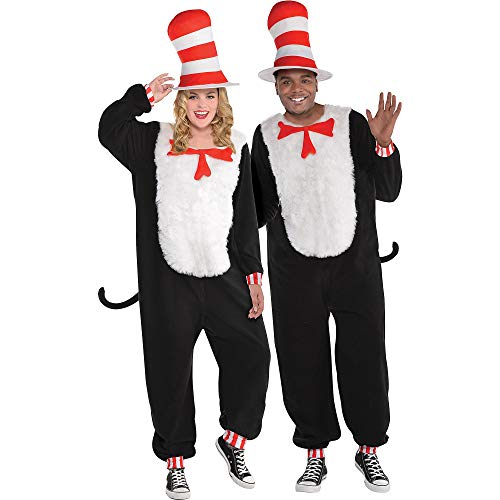 Costumes USA Dr. Seuss Cat in the Hat One Piece Halloween Costume for Adults, Plus Size, with Included Accessories ()