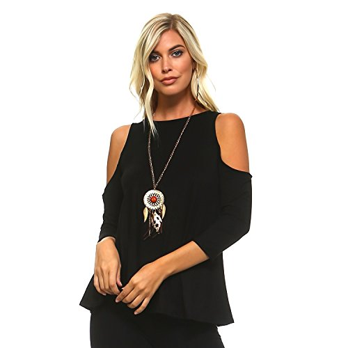 Isaac Liev Women's Casual Cutout Cold Shoulder Top (Large, Black)