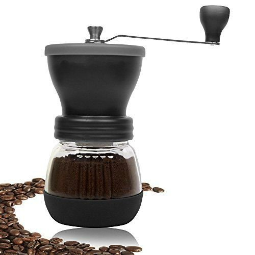 Glass Manual (Manual Coffee Grinder, Top Quality, Stainless Steel, Fortified Glass, Ceramic Core, Adjustable Grinder, Make Fresh Coffee With The Portable, Durable Coffee Bean Grinder, For Coffee Enthusiasts)