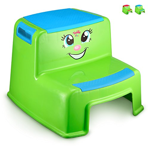 Bed Doo (Step Stools for Kids - Toddlers Potty Step Stool for Toilet Training - Dual Height Two-Step Stairs Stool - Cute Design for Use in Bathroom and Kitchen Sink- Lightweight- Blue Boys - By Toddle doo)