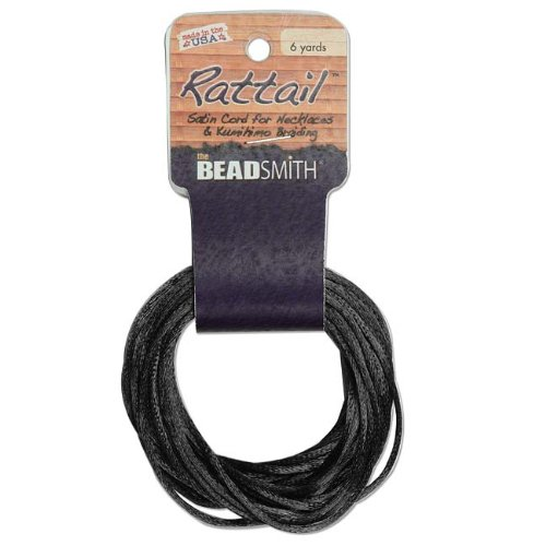 3mm Satin Rattail Braiding Cord Black 6 Yards For Kumihimo and Craft (3 Mm Thread)