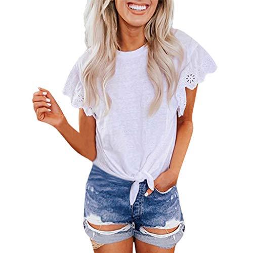 (DONTAL Summer Womens Tops Casual Solid Lace O-Neck Petal Sleeve T-Shirt Hawaiian Shirt White)