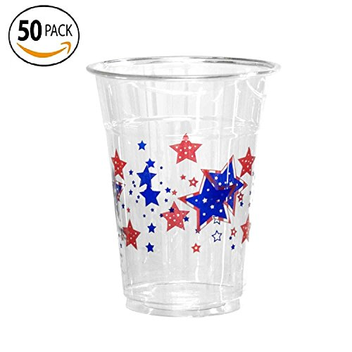 50 Count Disposable Plastic Printed 16-Ounce Party Cups,
