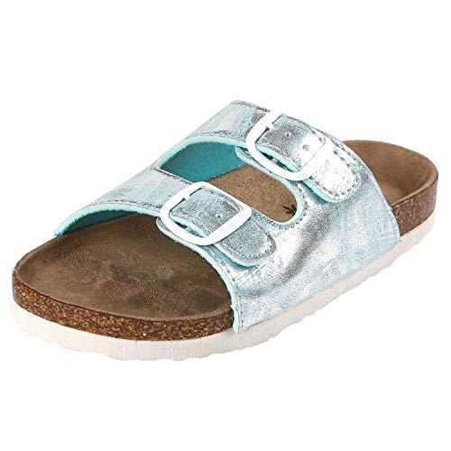Northside Girls' Mariani Sandal, Silver/Aqua, 11 M US Little Kid