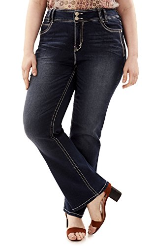WallFlower Junior's Size Instastretch Luscious Curvy Bootcut Jeans, Carle/Carle, 16 Plus