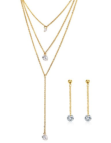 Gold Plated Titanium Earrings (3 Layers Multilayer Cubic Zirconia Charm Lariat Sexy Long Chain Y Necklace Dangle Earrings Jewelry Set, Gold Plated )
