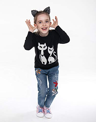 BOBOYOYO Kids Pullover Sweater Long Sleeve Round Neck Cotton Sweater with Cat Pattern for Boys or Girls 3-12Y