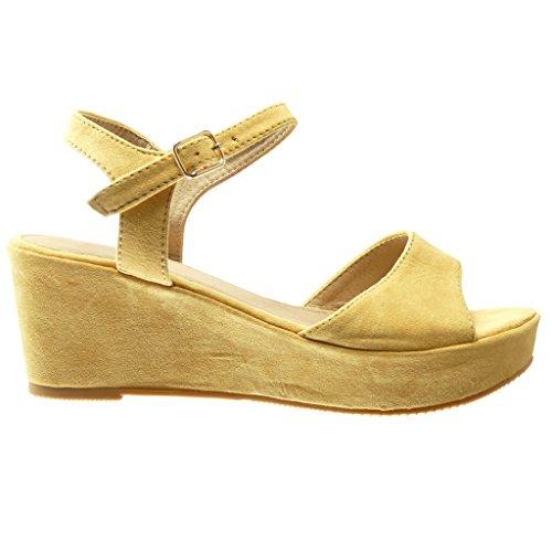 Angkorly - Chaussure Mode Sandale Mule plateforme femme lanière boucle Talon compensé plateforme 7 CM - Jaune