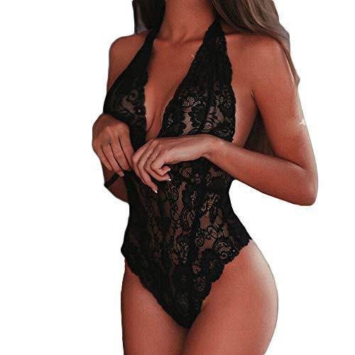 Lingerie Bodysuit for Women Plus Size LuluZanm Fashion Babydoll Lace Silks G-String Set ()