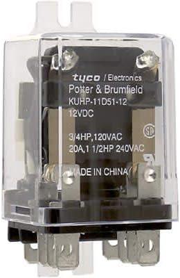 Relay; E-Mech; Power; DPDT; 20A; 12DC; Vol-Rtg 240 AC; 28 DC; 9 Pin; KUHP-11D51-12
