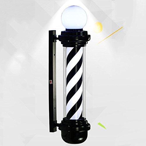 LED Barber Pole White Black Stripes Rotating Illuminating with Globel Lamp Waterproof Light Hair Salon Shop Sign Wall-Mounted