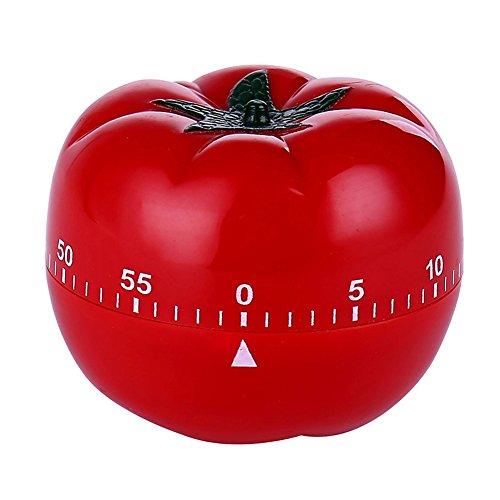 LRZCGB 60 Minutes Tomato Fruit Vegetable Cartoon Timer Mechanical Kitchen Timer,Ringing Alarm (Tomato)
