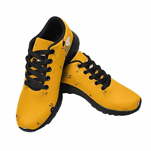 D-story Jogging Running Sneaker Seamless Con Api Arancioni Donna Casual Comfort Sport Walking Scarpe Da Corsa Nere