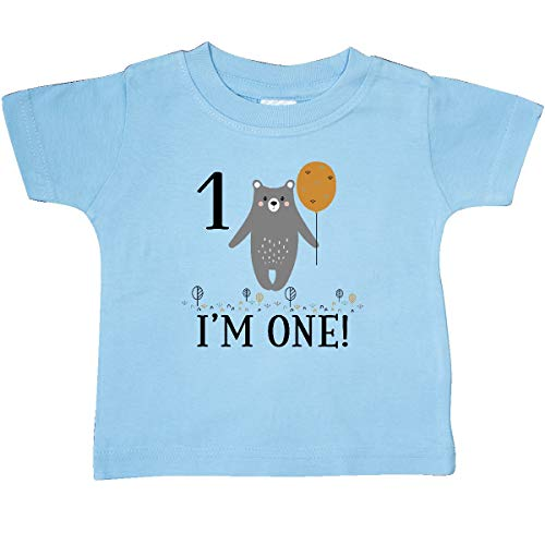 (inktastic - 1st Birthday Woodland Bear 1 Baby T-Shirt 18 Months Light Blue 3559c)