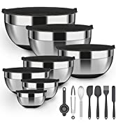 Luvan 18/10 304 Stainless Steel Mixing Bowl,Set of 7,with Airtight Lids and Non-Slip Silicone Bot...