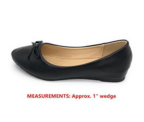 Blue Berry EASY21 Womens Casual Flats Ballet Fashion Shoes Faux Leather Black D07 qfgArYe