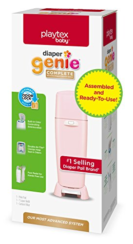 Playtex Diaper Genie Complete Assembled Diaper Pail with Odor Lock Technology & 1 Full Size Refill, Pink (1 pail and 1 refill per unit)