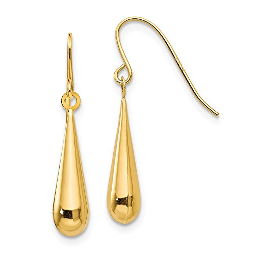14k Yellow Gold Teardrop Drop Dangle Chandelier Earrings Fine Jewelry Gifts For Women For Her ()