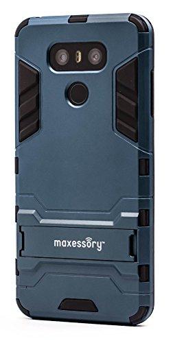 Lg G6 Case  Maxessory Stealth Ultra Slim Dual Layer Shock Proof Rugged Heavy Duty Rubber Grip Rigid Hybrid Armor Shell Cover W Kickstand Dark Blue Black For Lg G6 2017