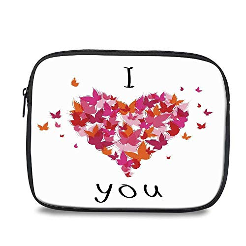 Love Decor Durable iPad Bag,Stylish Heart Figure Filled with Butterflies Soul Mate Real True Deep My Dear Love Illustration for iPad,10.6