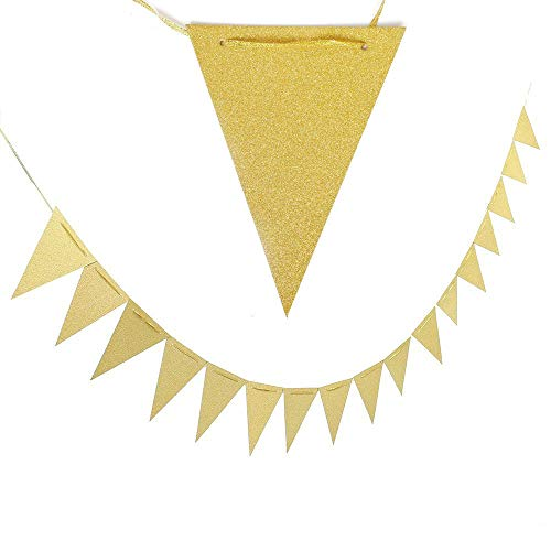 20 Feet Vintage Double Sided Glitter Gold Triangle Flag Bunting Pennant Banner for Wedding Christmas New Year Eve Party Decor, Upgrade Glitter Version, Silver 30pcs Flags, Pack of 1 -