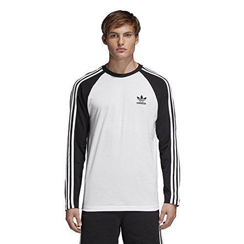 adidas Originals Mens 3-Stripes Long Sleeve Tee Black Large