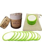 YOUR VIP SKIN 20 Herbruikbare make-up verwijderingspads, Herbruikbare make-up remover schijfjes - Pak van 20 organische bamboe wattenschijfjes - Eco-vriendelijke katoenen schijfjes voor het gezicht - Wasbare gezichts- schijfjes - Zacht en teder gevoel - Bonus waszakje