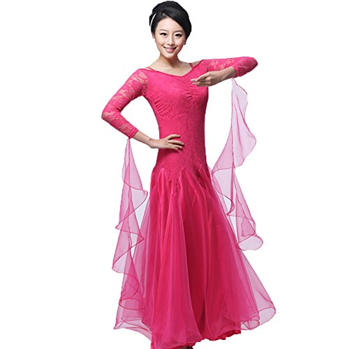 Ballroom Dance Dresses Long Sleeve Practise Dance Rhinestone Competition Dresses Modern Waltz Tango Smooth Ballroom Dance Costumes For Women Flamenco Dresses Showcase Dance (Sexy Ballroom Dress)
