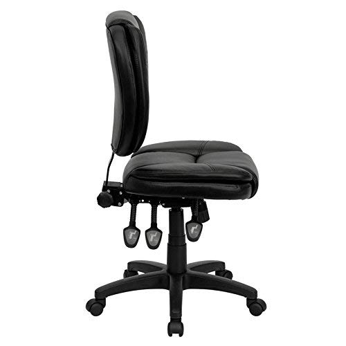 Flash Furniture GO-930F-BK-LEA-GG Mid-Back Black Leather Multi-Functional Ergonomic Task Chair