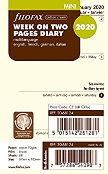 C68124-2016 4 Languages Filofax 2016 Week to View Refill January 2016 to December 2016 Cream Paper Mini Size
