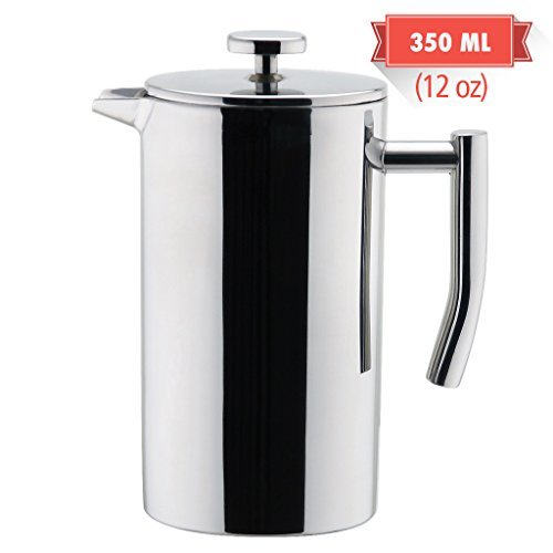 MIRA Double Walled Tea & Coffee French Press | Stainless Steel Insulated Coffee Brewer Pot & Maker | Keeps Brewed Coffee or Tea Hot | 12 Oz (350 ml)