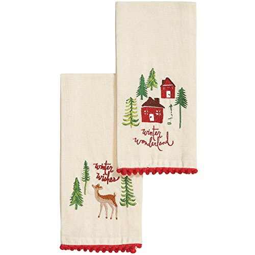 TAG Set of 2 Guest Hand Towels Woodland Winter Embroidered (205085) - Winter Dish Towels
