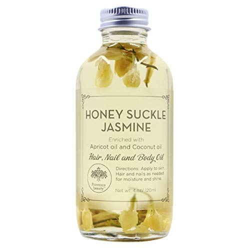 Jasmine Dry Oil - Honey Suckle Jasmine Multi-Use Oil for Face, Body & Hair - Hydrates Skin & Restores Hair's Natural Shine - Enriched with Apricot Oil, Fractionated Coconut Oil & Vitamin E - 4OZ