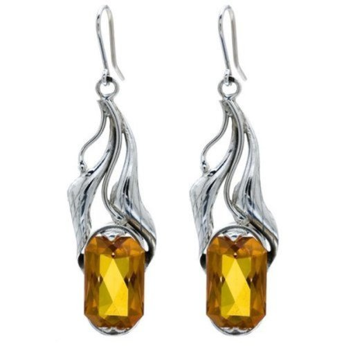 Honey Amber Sterling Silver Faceted Collection Flower Earrings by Ian & Valeri Co.