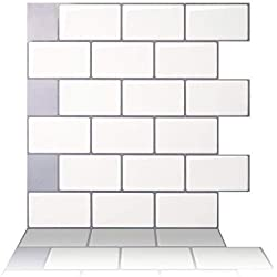 "Tic Tac Tiles - Premium Anti Mold Peel and Stick Wall Tile in Subway Design (12""x12"" 10 Sheets, Mono White)"