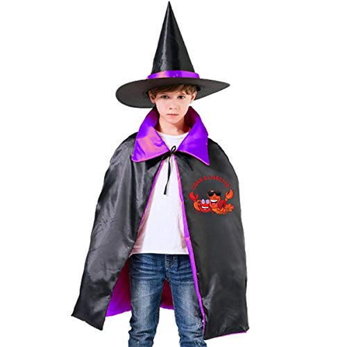 Halloween Children Costume My Big Lobster Wizard Witch Cloak Cape Robe And Hat Set -