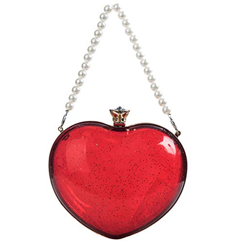 Anxinke Women Fashion Crossbody Bags Heart-shaped Chain Bag with Beaded Handle (Red) (Beaded Shaped Heart Purse Red)