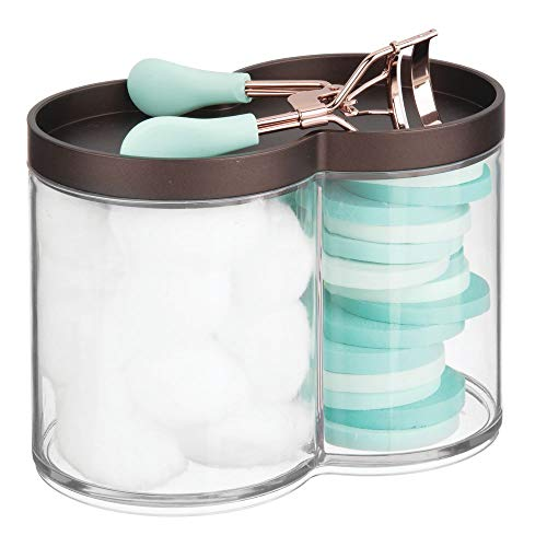 - mDesign Plastic Bathroom Vanity Countertop Canister Jar with Storage Lid - Stackable - Divided, Double Compartment Organizer for Cotton Balls, Swabs, Bath Salts - Clear/Bronze