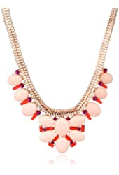 Jessica Simpson Drama Stone Collar Seashell Pink Necklace, 16""