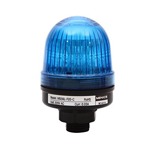 MS56L-F10-B, Beacon Steady & Flash Light, 56mm Blue Lens, 20mm Hole Direct mounting, LED, 110V ()