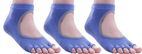 FUN TOES Combed Cotton Grip non slip Toeless Yoga Pilates Barre Sock (3 Pairs) (Purple), 9-11